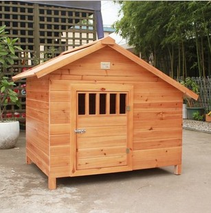 Free shipping solid wood fir wood carbonized wooden dog kennel dog kennel large dog house pet golden retriever dog house