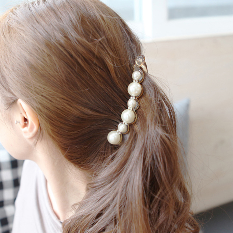 Free shipping south korea artificial pearls large trumpet banana clip vertical clip ponytail clip hairpin korean small gripper hair jewelry woman
