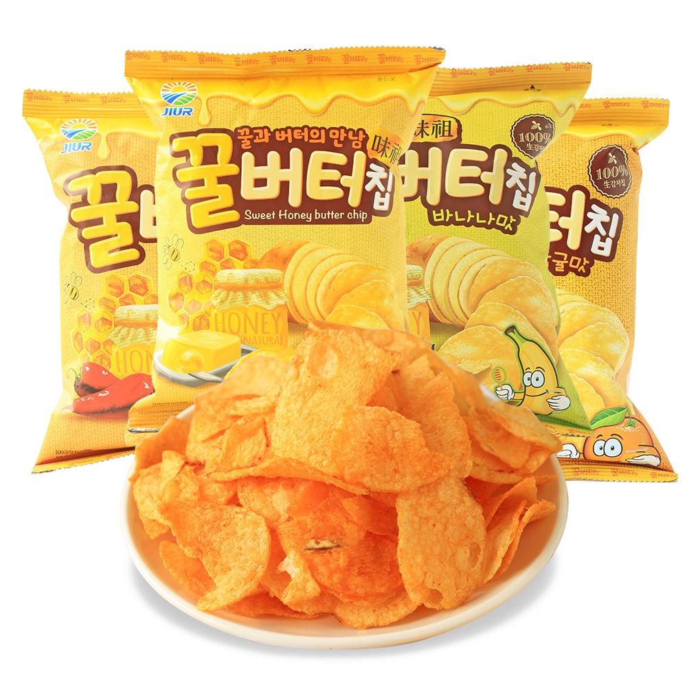 Free shipping south korea imported nine days honey butter crisps 60g * 3 bags leisure zero food puffed