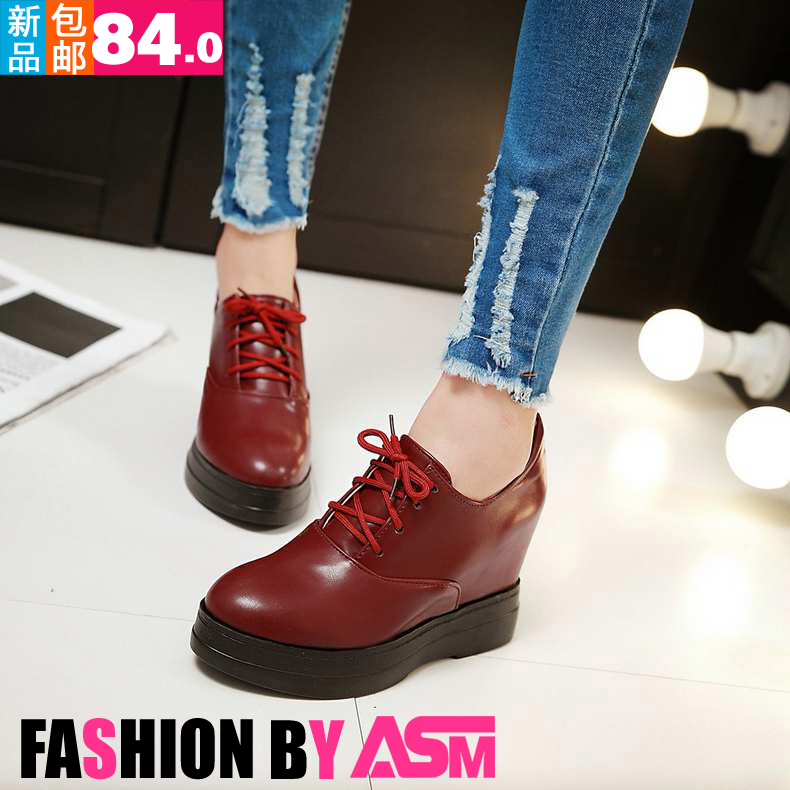 Free shipping spring and single female boots boots lace female horse ding pointed burgundy leather shoes thick crust increased within the boots ankle boots