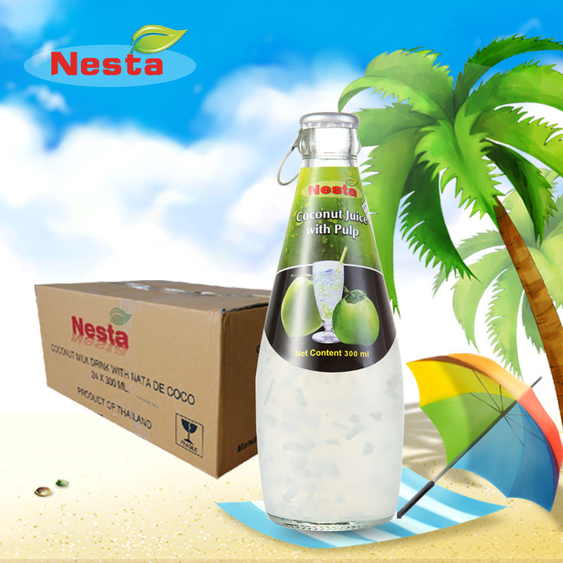 Free shipping thailand imported from thailand and the united states for 24 bottles of coconut water coconut coconut grain fruit flesh fruit juice drinks 300 ml