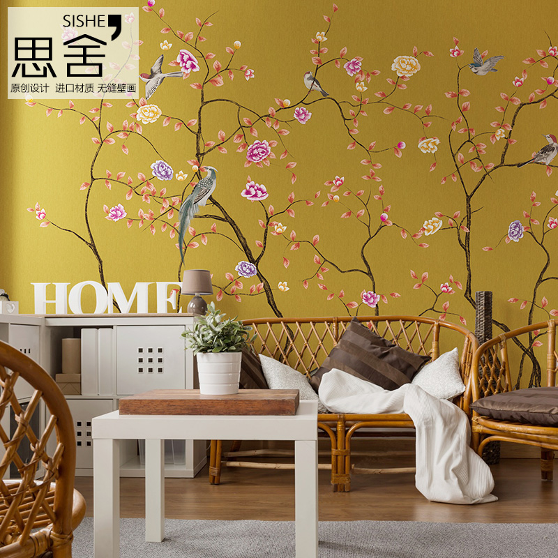 French art of thinking scotia chinese flower and bird living room wallpaper background wallpaper personalized custom wallpaper mural wallpaper seamless wall covering
