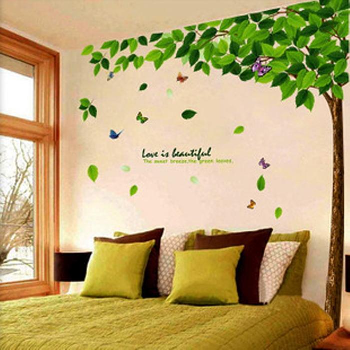 Fresh garden green leaf large tree wall stickers bedroom cozy living room tv sofa background removable wall stickers