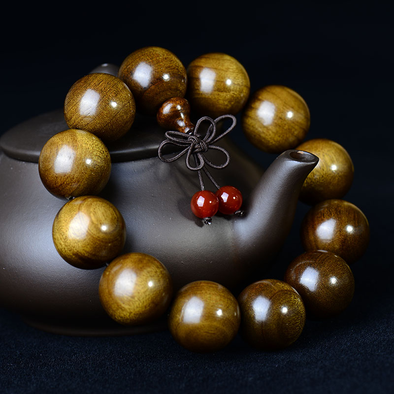 Friends cecectomized 0cm sichuan gold phoebe gloomy wood bracelets gold phoebe old material black wood beads men