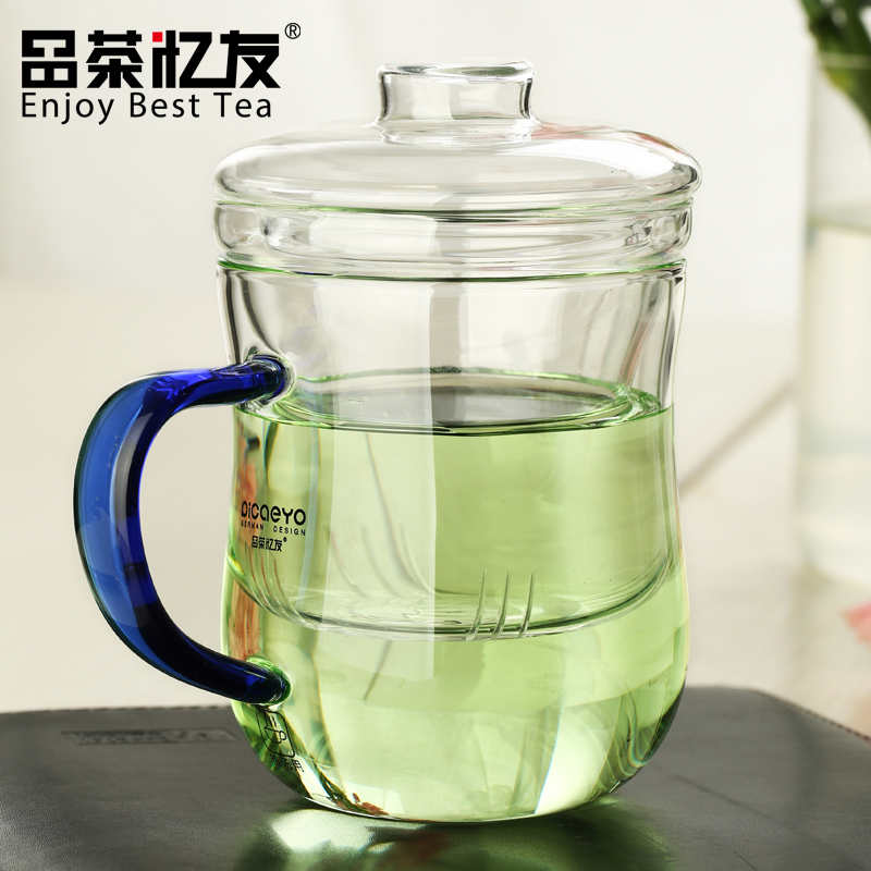 Friends recalled tea glass cup with lid three cups body slim cup cup office cup filter tea cups thick