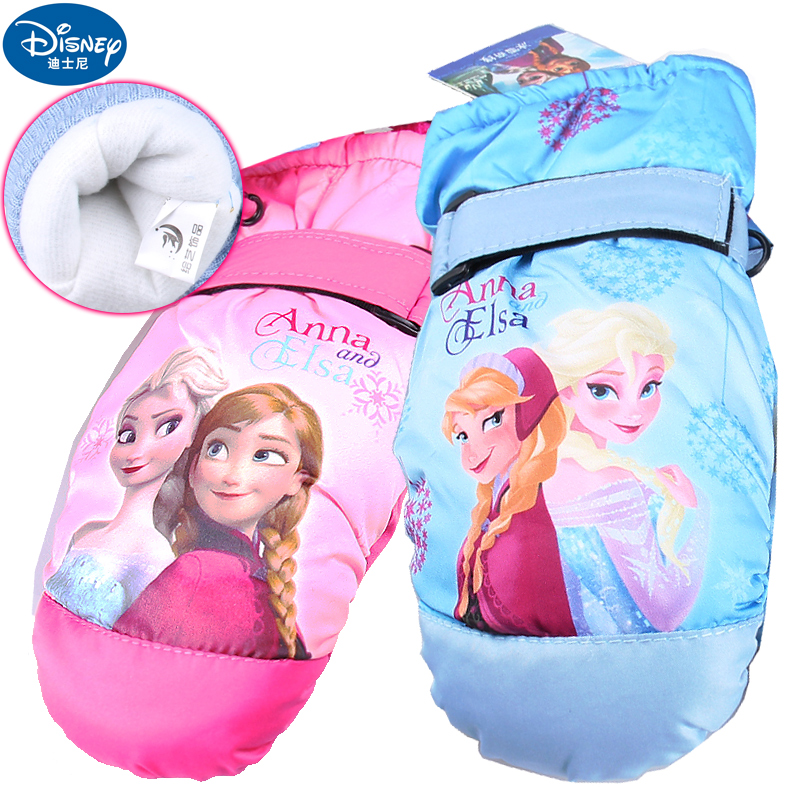 Frozen disney princess girls children's ski gloves warm winter plus thick velvet mittens