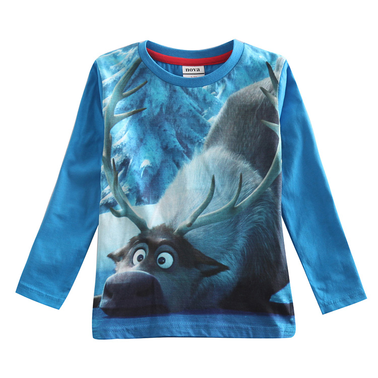 Frozen frozen kids children's spring and autumn paragraph boys boys cartoon long sleeve cotton t-shirt tops new