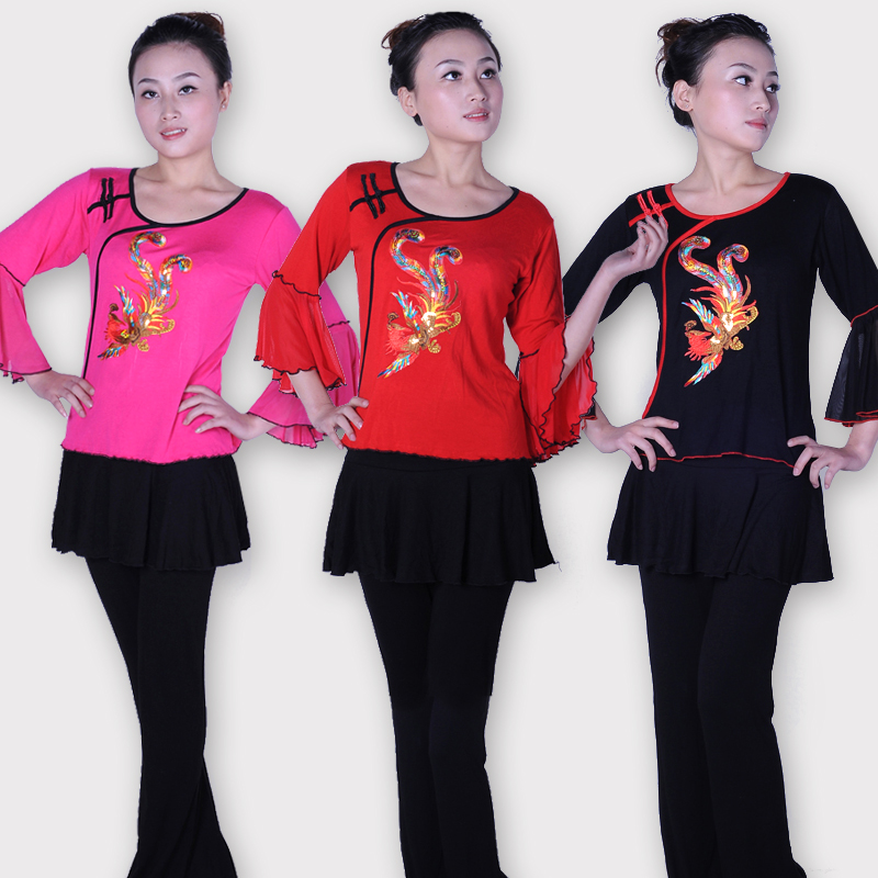 Fu dance square dance clothing performance clothing square dance clothing suit new spring and summer sequins ethnic phoenix