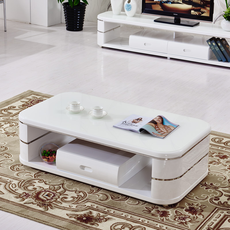 Fu hongyuan tempered glass coffee table modern minimalist white paint rounded square coffee table storage coffee table coffee table combination