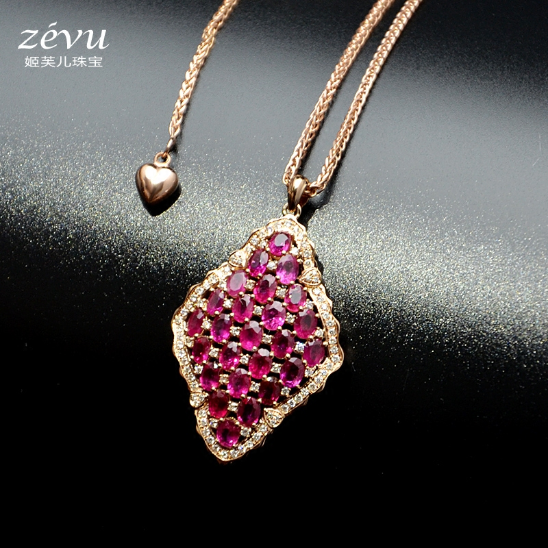 Fu ji children end private custom k gold necklace female luxury diamond pendant in sterling silver inlaid natural ruby