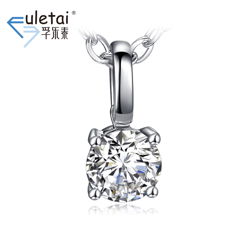 Fu loctite 2015 k white gold diamond pendant necklace new spring and summer fashion simple single diamond pendant limbus heart