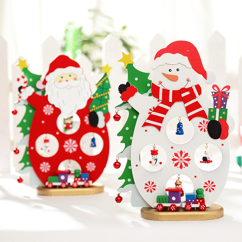Fu unicorn creative wooden christmas decorations santa claus snowman windows desktop christmas tree ornaments