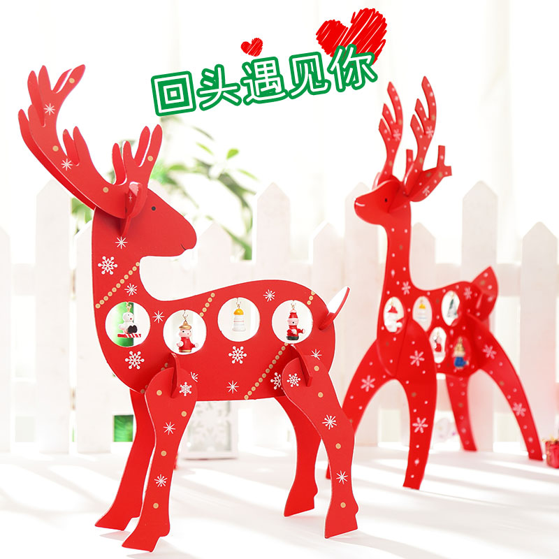 Fu unicorn creative wooden christmas deer wooden tabletop christmas tree ornaments christmas decorations christmas gifts