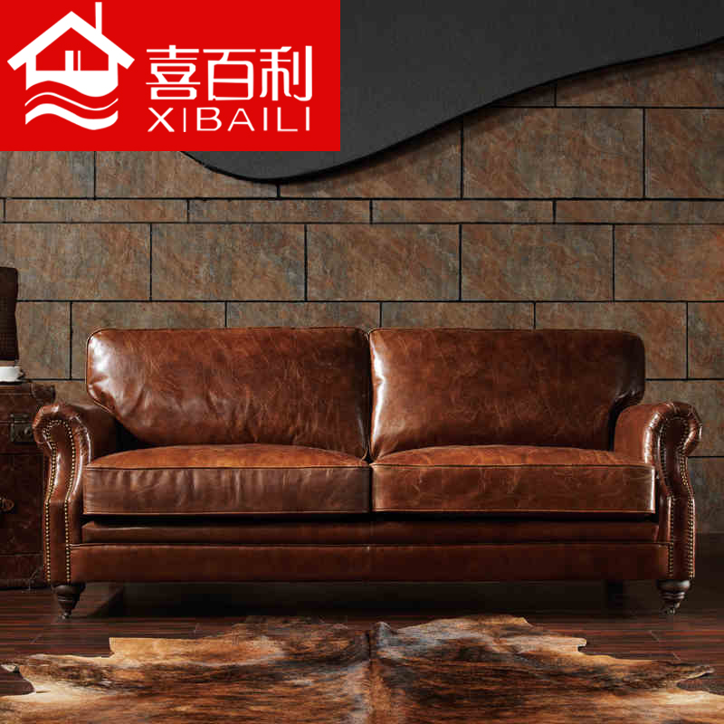 Get Quotations Full Leather Imported Oil Wax Sofa Clical American Retro Furniture Handicraft