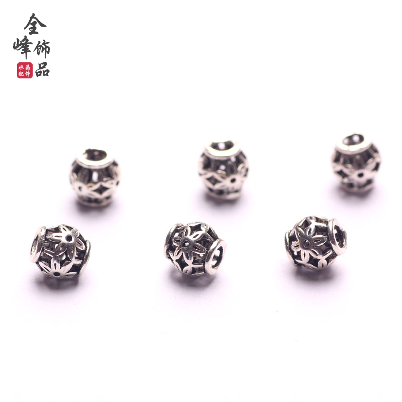 Full peak 925 silver diy handmade jewelry accessories 925 silver antique silver spacer beads beaded material scattered beads 6mm spacer beads
