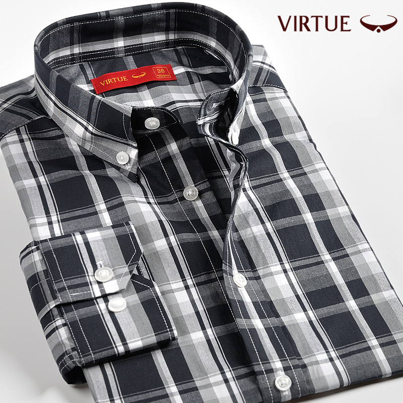 Fusion 2016 new fall buckle collar long sleeve shirt men inch shirt men's business casual plaid cotton shirt 01