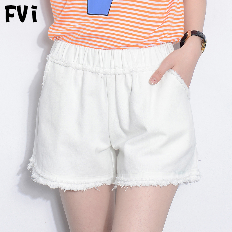 FVI2016 fringed pure white shorts summer new elastic waist straight jeans pants thin section was thin waist leisure