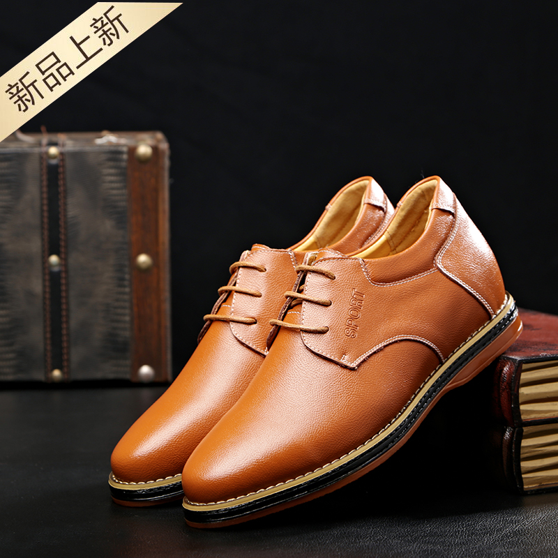 Ganges shark autumn new casual men's shoes inside invisible elevator shoes british fashion lace shoes