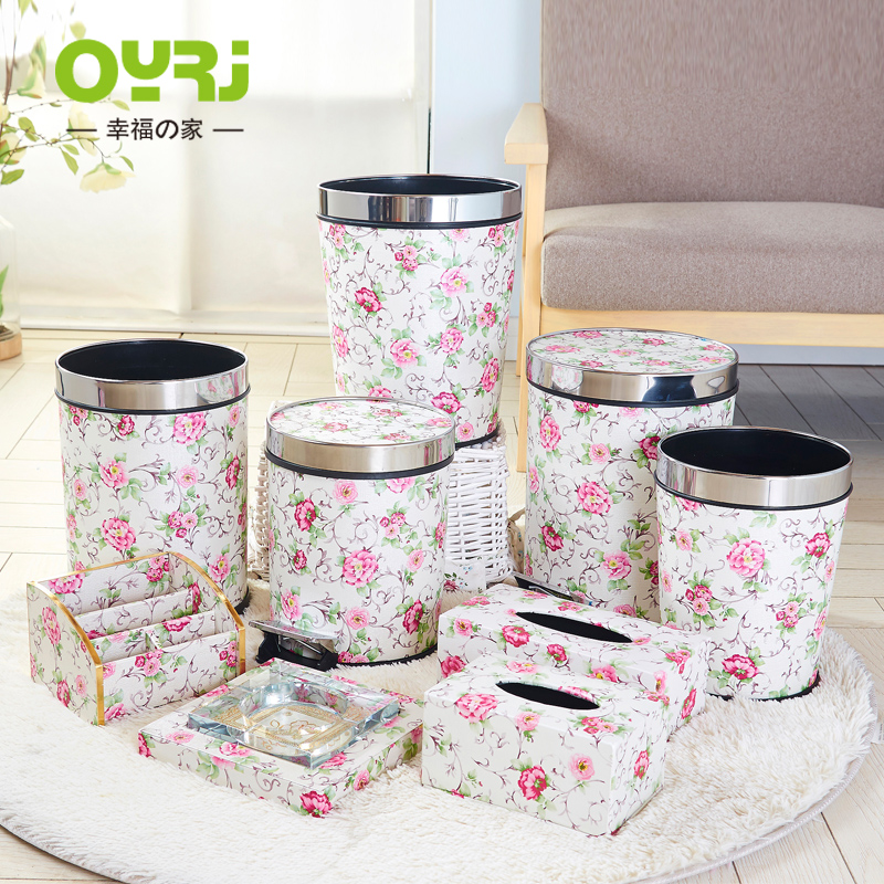 Garden flower leather household trash fashion creative living room kitchen bathroom trash can 050824A8
