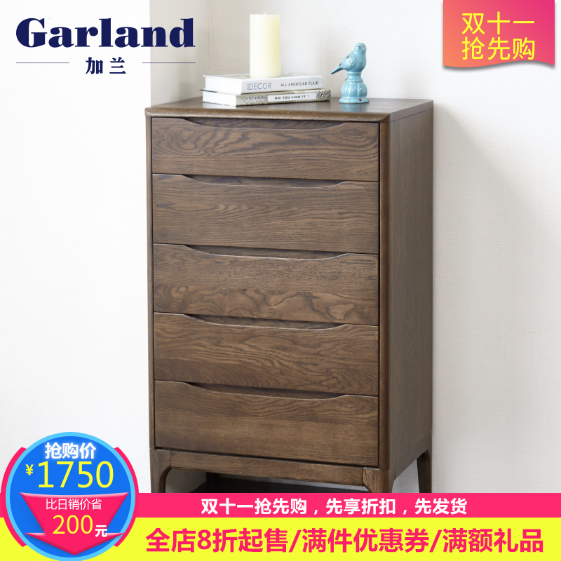 Garland modern minimalist japanese style all solid wood oak chest of drawers chest of drawers walnut colors lying room furniture multilayer storage cabinets