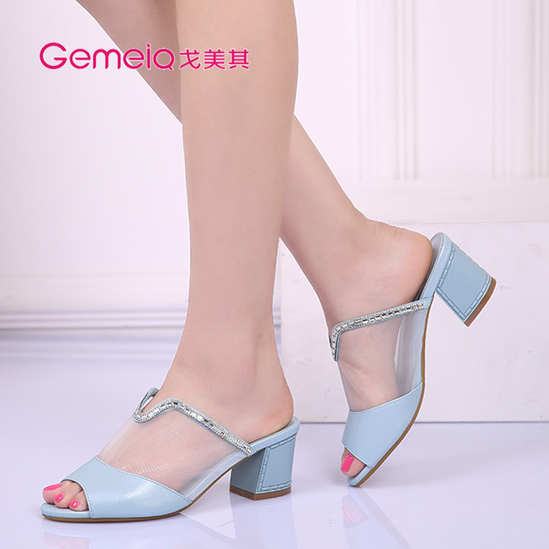 Ge beauty of its new summer sandals korean version of the rough diamond women shoes high heels fashion sandals and slippers 1513072