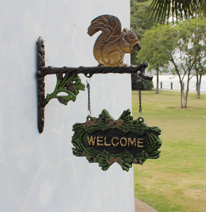 Ge jia rui seoul cast iron decorative wrought iron welcome card numbers listed on the welcome tag double face squirrel classic