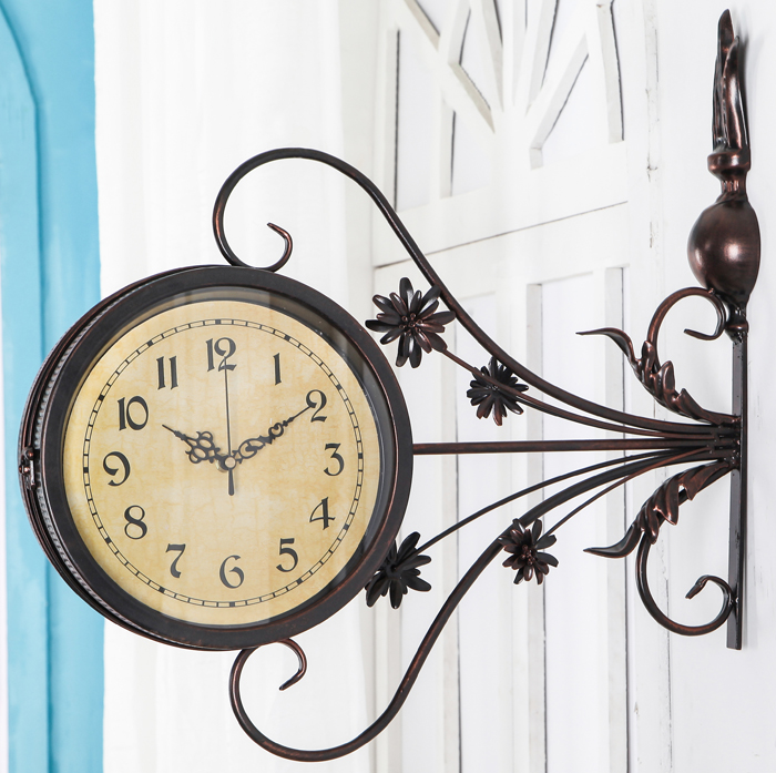Ge jia rui seoul sided bell european minimalist bedroom wrought iron craft creative living room wall clock mute clock pocket watch