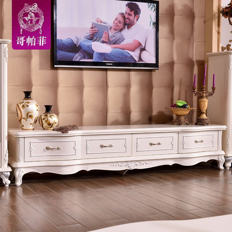 Ge pafei simple european french living room ready marble wood tv cabinet tv cabinet cabinet 1.8/2/2.4 m
