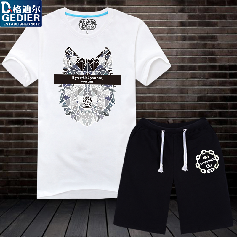Gedi er summer influx of male personality short sleeve suit teenagers sleeve t-shirt printing sleeve dress beach pants shorts