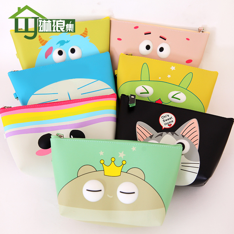 Gem collection of cartoon cosmetic bag small bag korean version of the new pu waterproof debris storage bags practical zero wallet free shipping