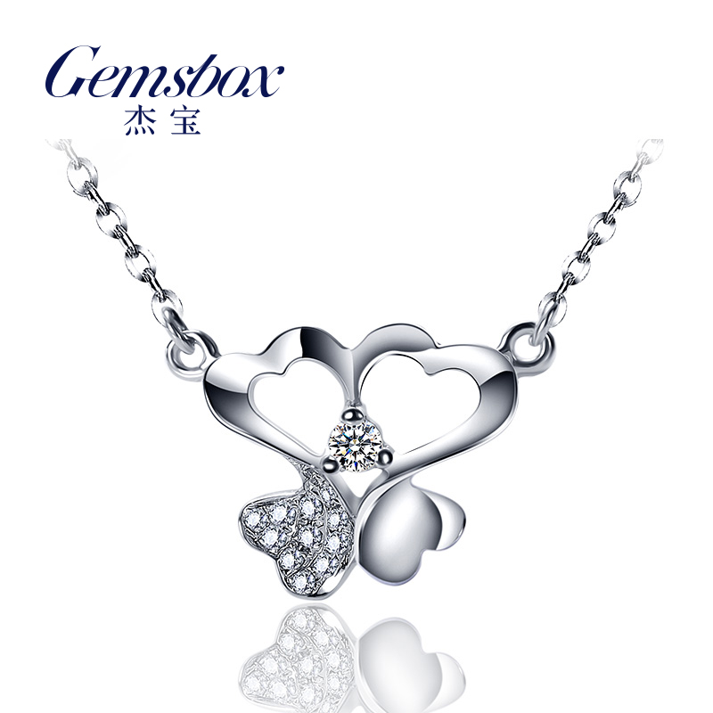 Gemsbox/jie bao white athyriopsis significantly large clover k gold diamond single diamond pendant diamond cluster pendant necklace