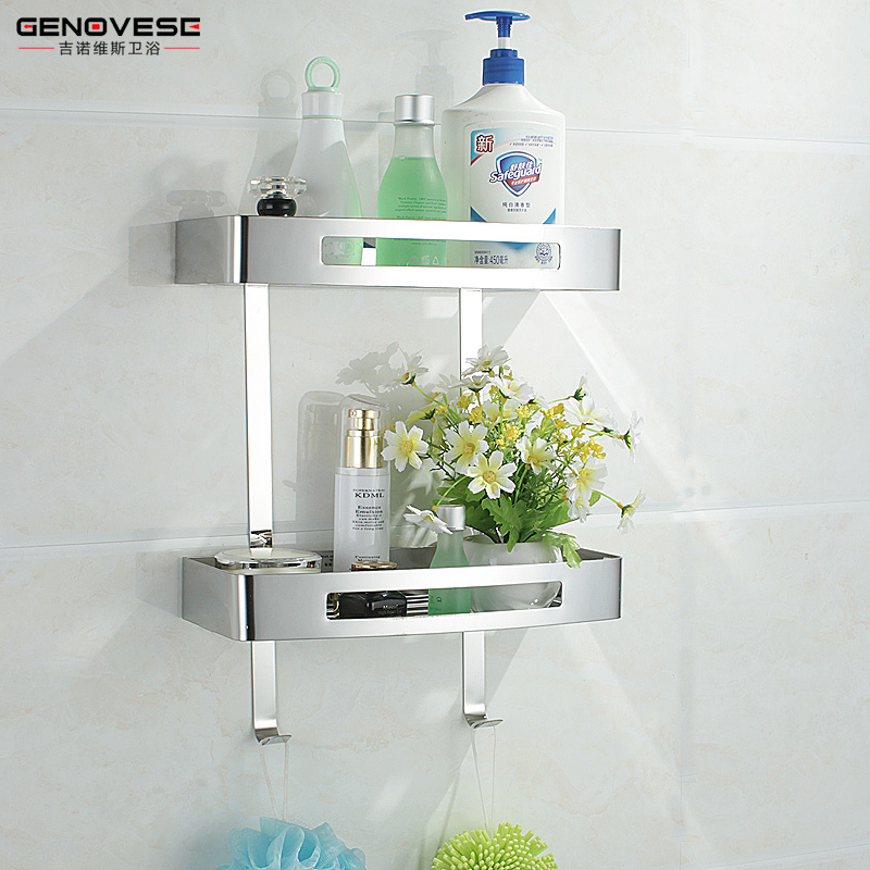 Genovese ensuite bathroom racks 304 stainless steel double storage rack bathroom toilet wall wash hands
