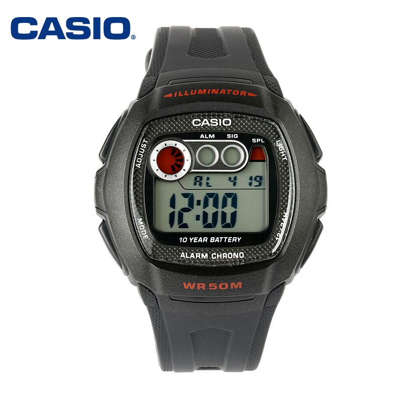 Genuine casio casio watches led waterproof male watch men's sports watch electronic watches chronograph calendar W-210-1C