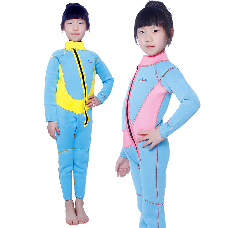 Genuine child warm long sleeve piece swimsuit swimsuit 2.5mm neoprene diving snorkeling clothes for boys and girls winter swimsuit