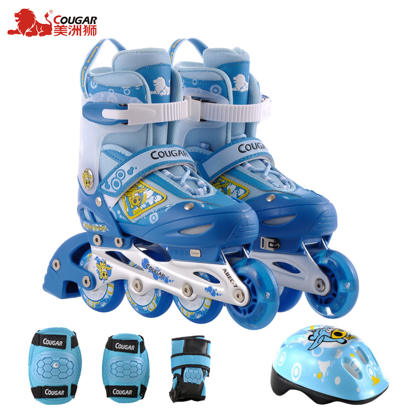 Genuine cougars children skates flash full suite skate skate skates children skates adjustable skates for children of men and women