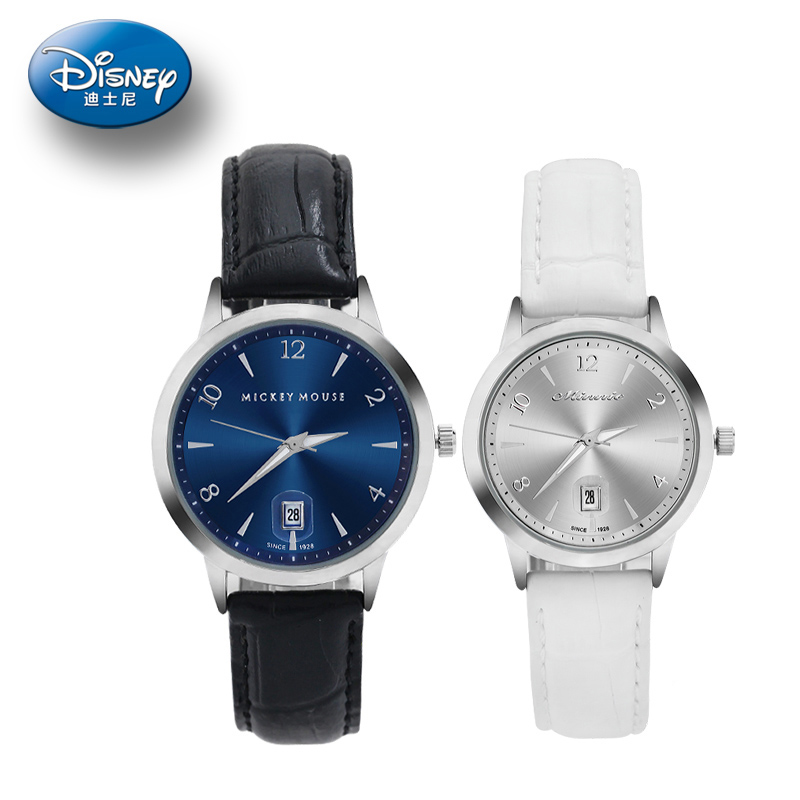 Genuine disney couple watch korean fashion students watch waterproof calendar male form female form couple of tables