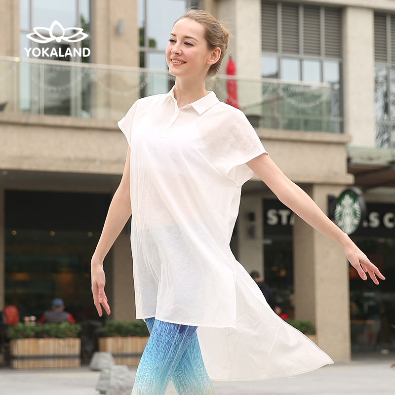 Genuine eukanuba lotus yoga clothes new spring and summer 2016 short sleeve t-shirt female health body suit outside smock gown ITW006