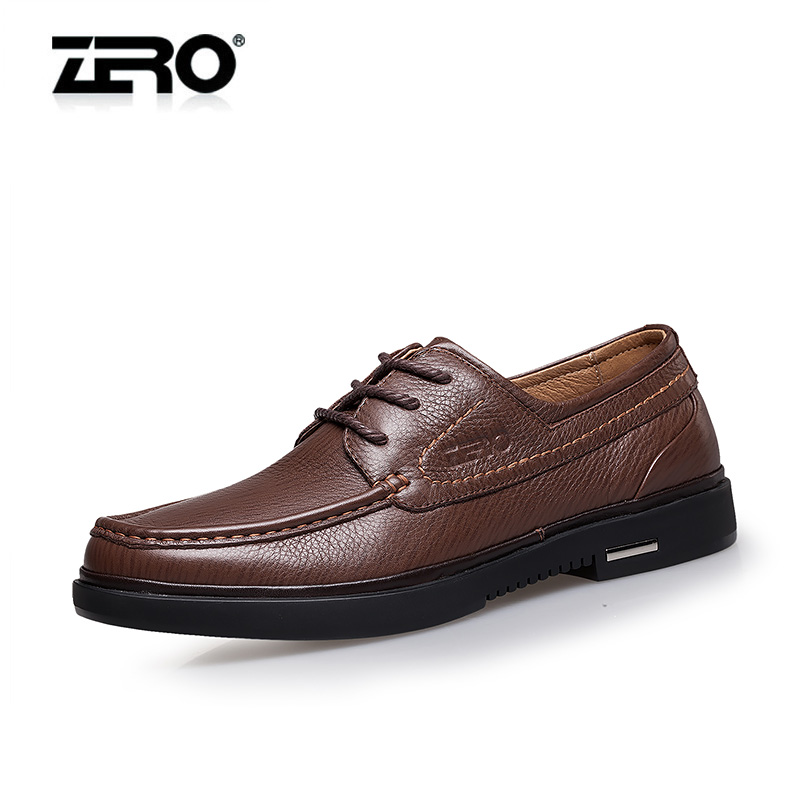 Genuine free shipping zero zero new men's spring and autumn thick crust leather slip cushioning comfortable business casual shoes