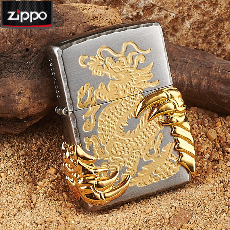 Genuine zippo lighter limited black ice sided engraved gilt claw dragon dragon wings genuine original