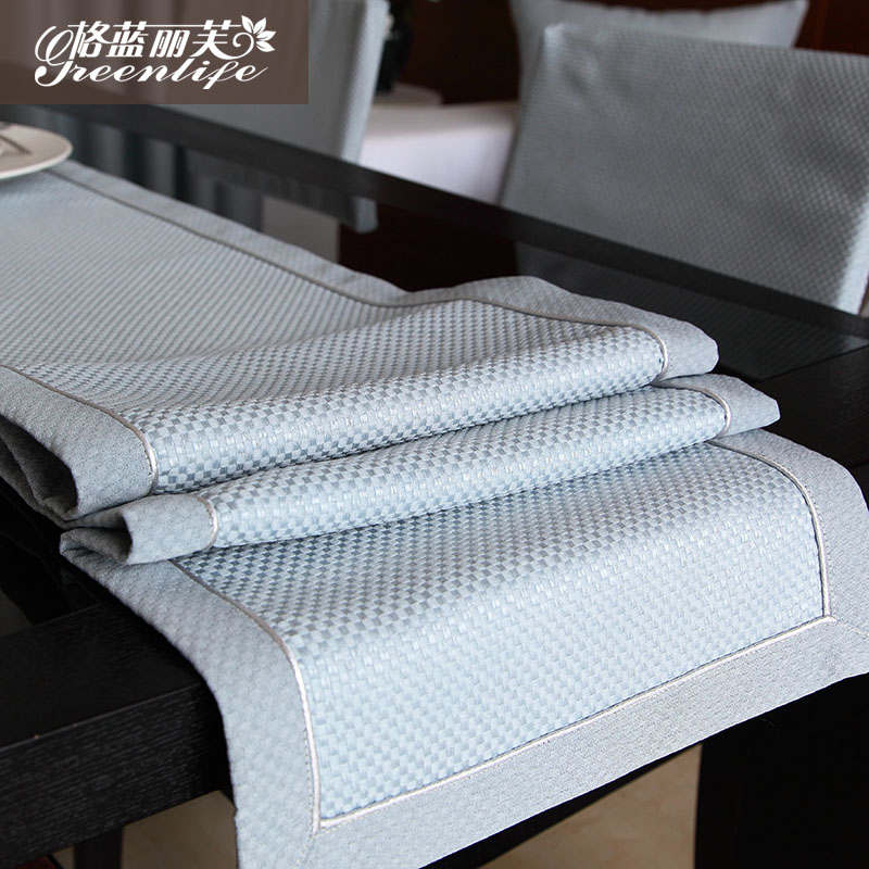 Georgia blue liv minimalist modern solid plaid fabric coffee table flag table flag table cloth new products can be customized