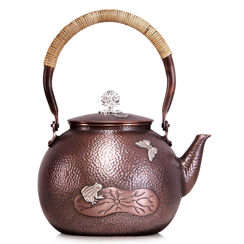 German church hill skipperling frogs handmade inlaid silver purple pure copper copper copper pot kettle teapot kung fu tea tea