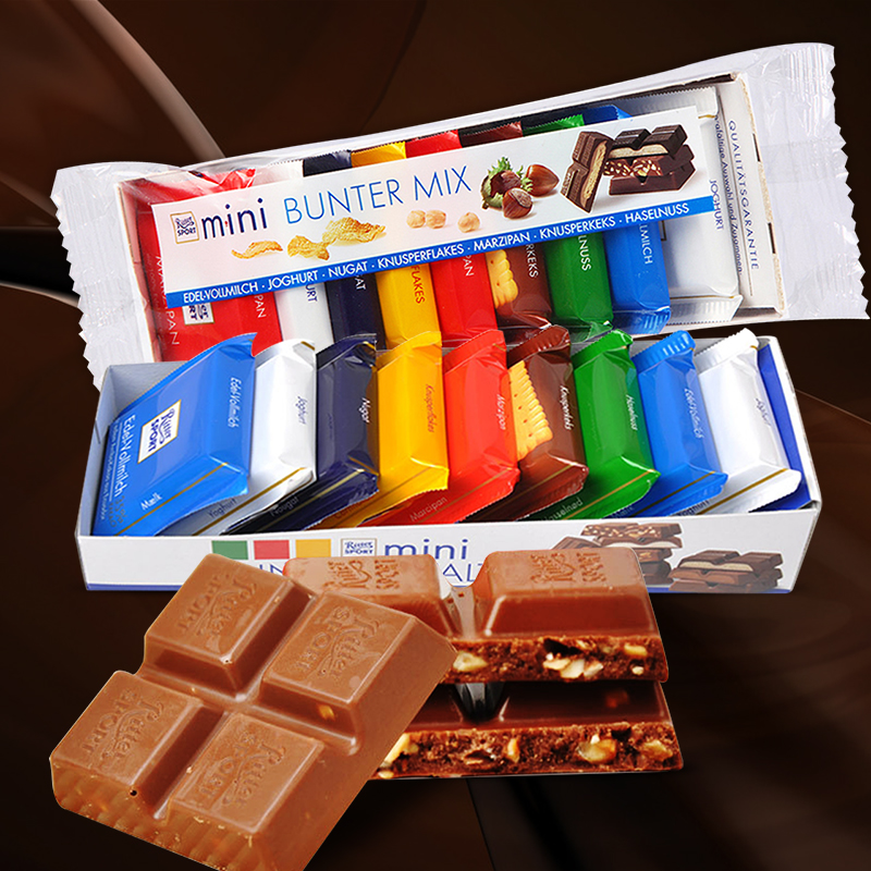 German imports ritter sport chocolate sport瑞特斯波德sports 7 kinds of chocolate flavors 150g
