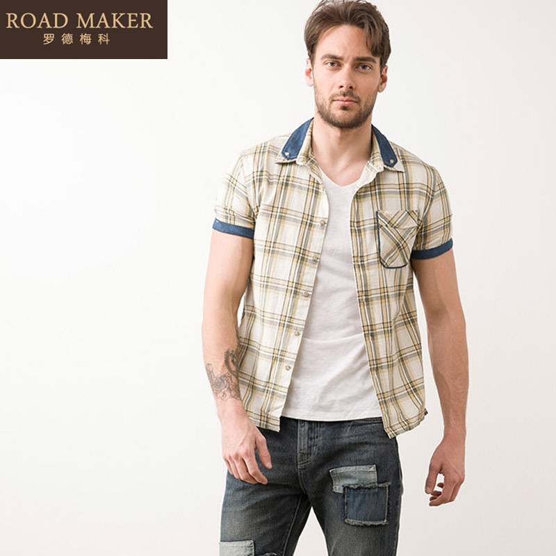 Germany 2016 meco rhodes summer new fashion men's casual plaid shirt denim stitching