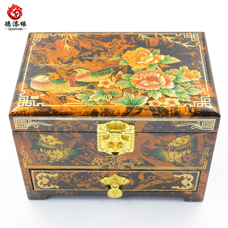 Germany edge pingyao push light lacquer jewelry box floating gold lacquer paint paint changed at the end of yin and yang play water with drawers Three layers 21 cm