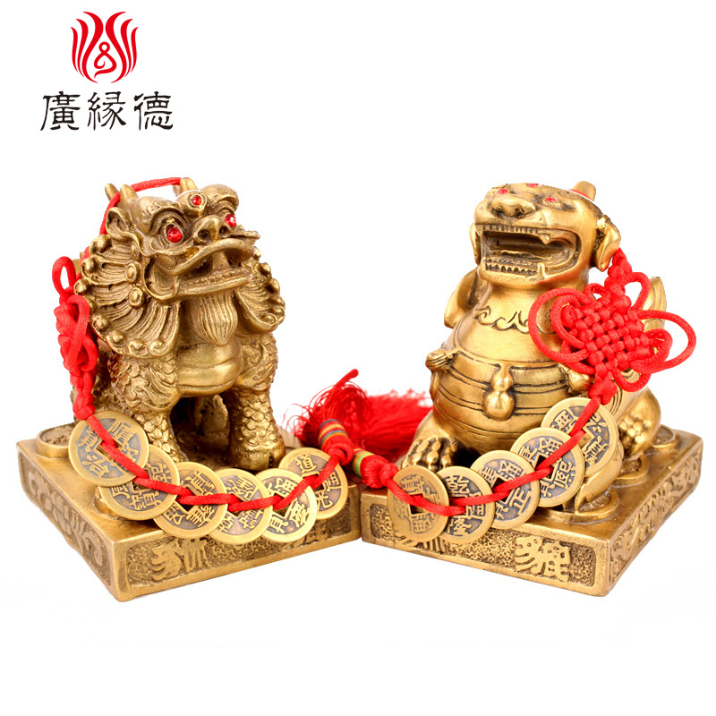 Germany opening wide margin copper feng shui picchu brave ornaments one pair of large trumpet lucky living room office opening gifts