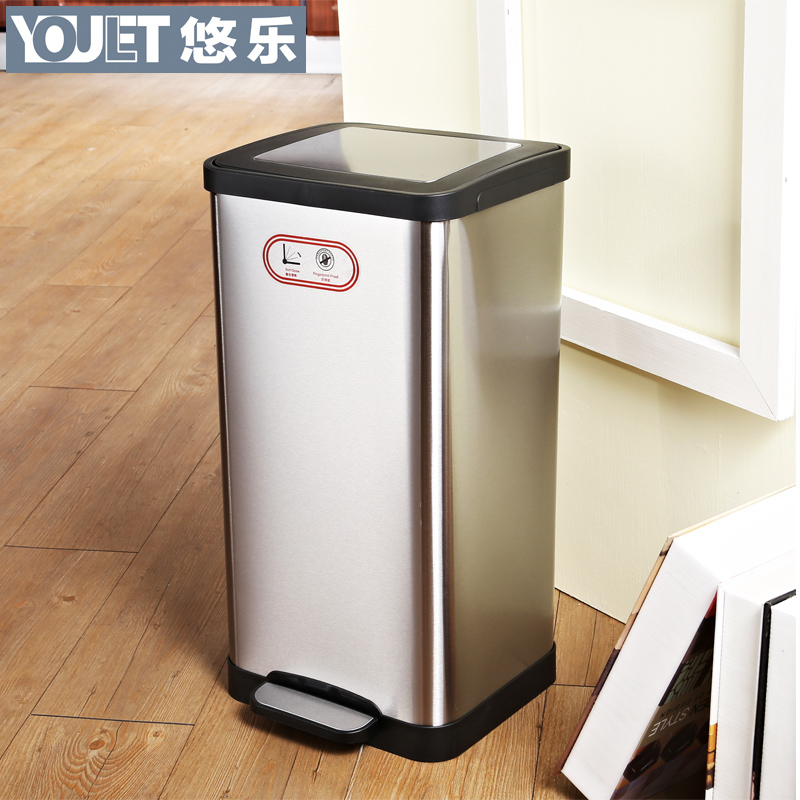 Germany youlet stainless steel household trash fashion creative kitchen bathroom trash can with a lid foot foot