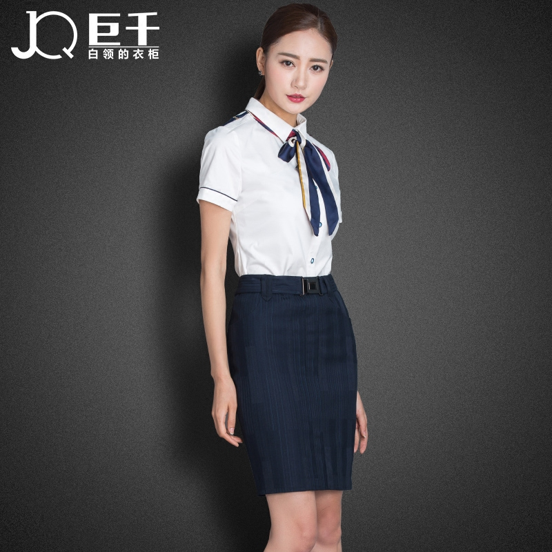 bcee6e8930b Get Quotations · Giant white collar women wear suits summer stewardess  uniforms career suits interview dress fashion work clothes