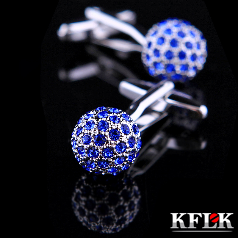 Gift box kflk blue spherical diamond cufflinks french shirt cuff cufflinks cufflinks men's shirts fasteners buckle boutique