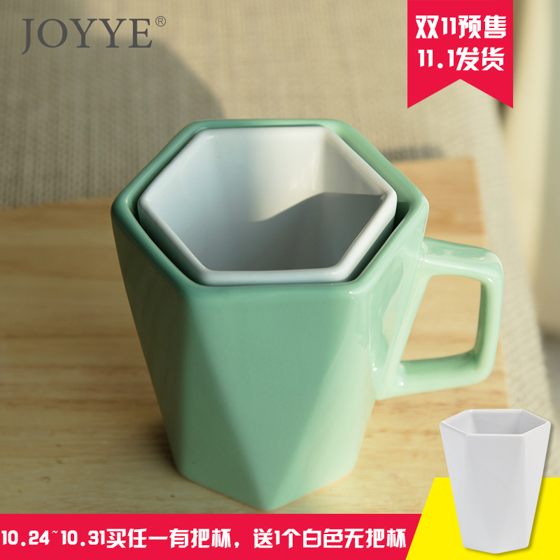 Gifts angulated watercups prismatic simple solid color ceramic cup mug cup creative couple cups ceramic cup for cup