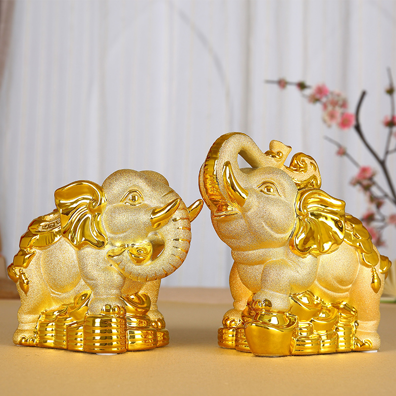 Gilded ceramic elephant ornaments one pair of lucky crafts creative piggy bank storage storage tank practical birthday gift objects